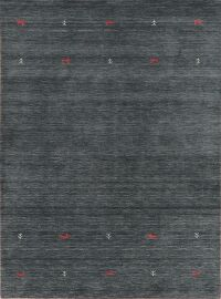 Contemporary Charcoal Gabbe Hand-Loom Area Rug Wool 6x8