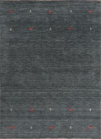 Contemporary Gabbeh Charcoal Area Rug Wool 6x8