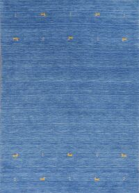 Contemporary Gabbeh Blue Area Rug Wool 6x8