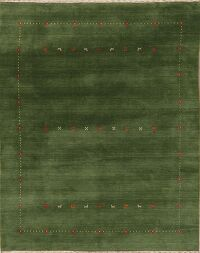 Contemporary Wool Green Gabbeh Oriental Area Rug 6x8