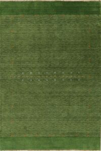 Contemporary Gabbeh Green Area Rug Wool 7x10