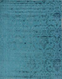 Teal Blue Silk Floral Area Rug 8x10