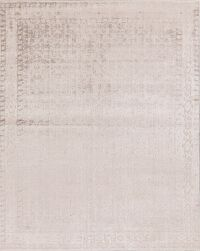 Light Brown Silk Gabbeh Oriental Area Rug 8x10