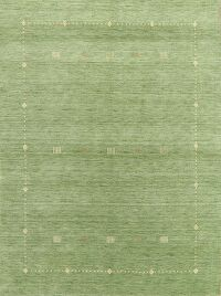 Contemporary Gabbeh Green Modern Area Rug Wool 6x8