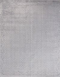 All-Over Silk Gray Modern Oriental Area Rug 8x10