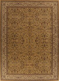 Traditional Gold Floral Kashan Turkish Large Rug 11x15