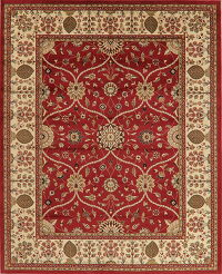Floral Red Aubusson Turkish Area Rug 8x10