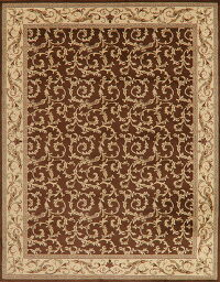 Brown All-Over Aubusson Turkish Area Rug 8x10