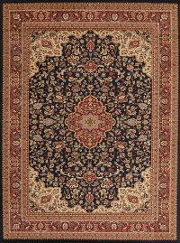 Navy Blue Floral Oushak Oriental Area Rug 9x13
