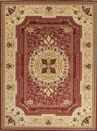 Victorian Style Red Aubusson Turkish Area Rug 9x12