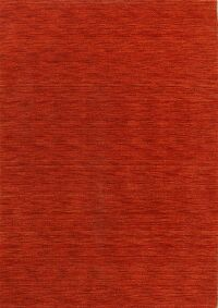 Solid Red Modern Gabbeh Oriental Area Rug 5x7