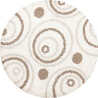 Ivory Round Shaggy Oriental Area Rug 7x7