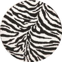 Animal Print Shaggy Oriental Area Rug 7x7 Round