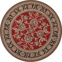Floral Red Agra Oriental Area Rug 5x5 Round