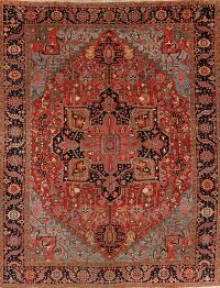 Antique Geometric Heriz Serapi  Persian Area Rug 10x13