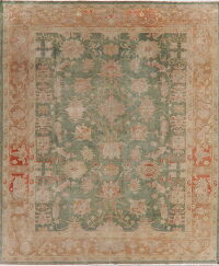 Floral Green Oushak Turkish Oriental Area Rug 9x10