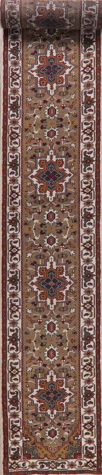 Brown Geometric Heriz Oriental Runner Rug 3x24