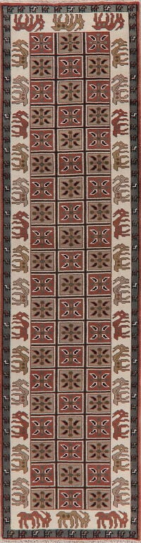 Animal Pictorial Oushak Oriental Runner Rug 3x12