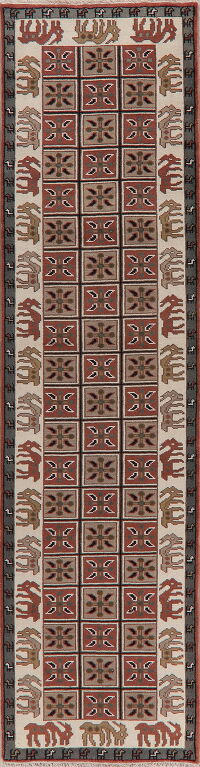 Animal Pictorial Heriz Oriental Runner Rug 3x12