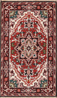 Geometric Red Heriz Oriental Area Rug 3x5