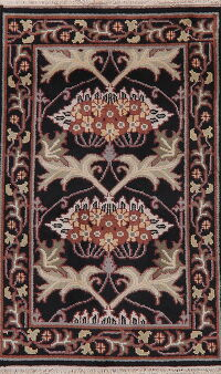 Black Floral Art & Craft Oriental Area Rug 3x5