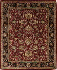 All-Over Floral Red/Black Agra Oriental Area Rug 8x10