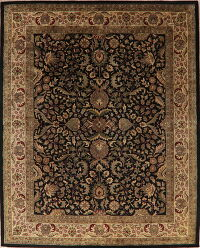 All-Over Floral Black Agra Oriental Area Rug 8x10