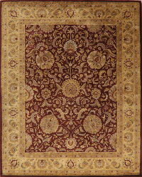 All-Over Rust Red Floral Agra Area Rug 8x10