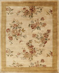 Ivory & Gold Floral Agra Oriental Area Rug 8x10