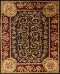 Charcoal Floral Aubusson Oriental Area Rug 8x10