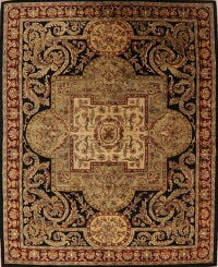 Victorian Style Black Aubusson Oriental Area Rug 8x10