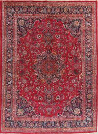 Vintage Floral Red Mashad Persian Area Rug 10x13