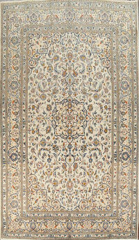 Traditional Floral Ivory Kashan Persian Area Rug 8x11