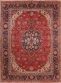 Vintage Geometric Red Tabriz Persian Area Rug 8x11