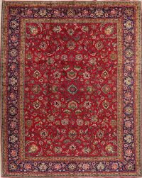 Vintage All-Over Floral Red Tabriz Persian Area Rug 10x13
