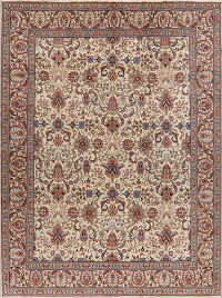 All-Over Ivory Tabriz Persian Area Rug 10x13