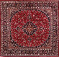 Floral Red Mashad Persian Area Rug 10x10 Square