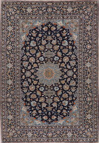 Traditional Navy Blue Floral Signed Kashan Persian Area Rug 8x12