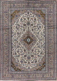 Traditional Ivory Floral Kashan Persian Area Rug 8x11