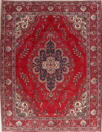 Vintage Flora Tabriz Persian Red Area Rug 10x13
