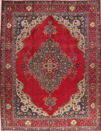 Red Geometric Tabriz Persian Area Rug 10x13