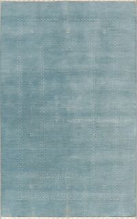 Contemporary Blue Gabbeh Modern Oriental Area Rug 5x8