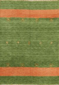 Contemporary Green Gabbeh Modern Oriental Area Rug 5x7