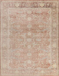 Antique Look Muted Floral Oushak Turkish Area Rug 8x11