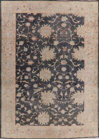 Antique Charcoal Oushak Turkish Area Rug 9x12