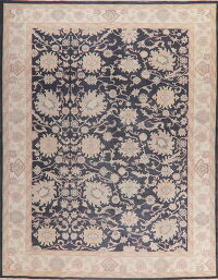 Floral Charcoal Oushak Turkish Area Rug 10x13