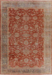 Vegetable Dye Antique Oushak Rust Turkish Area Rug 10x14