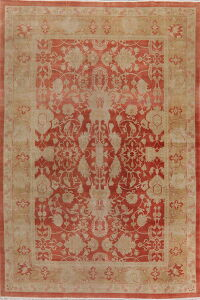 Vegetable Dye Floral Oushak Egyptian Rust Area Rug 9x13