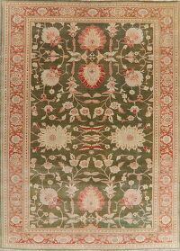 Floral Oushak Moss Green Turkish Area Rug 10x14