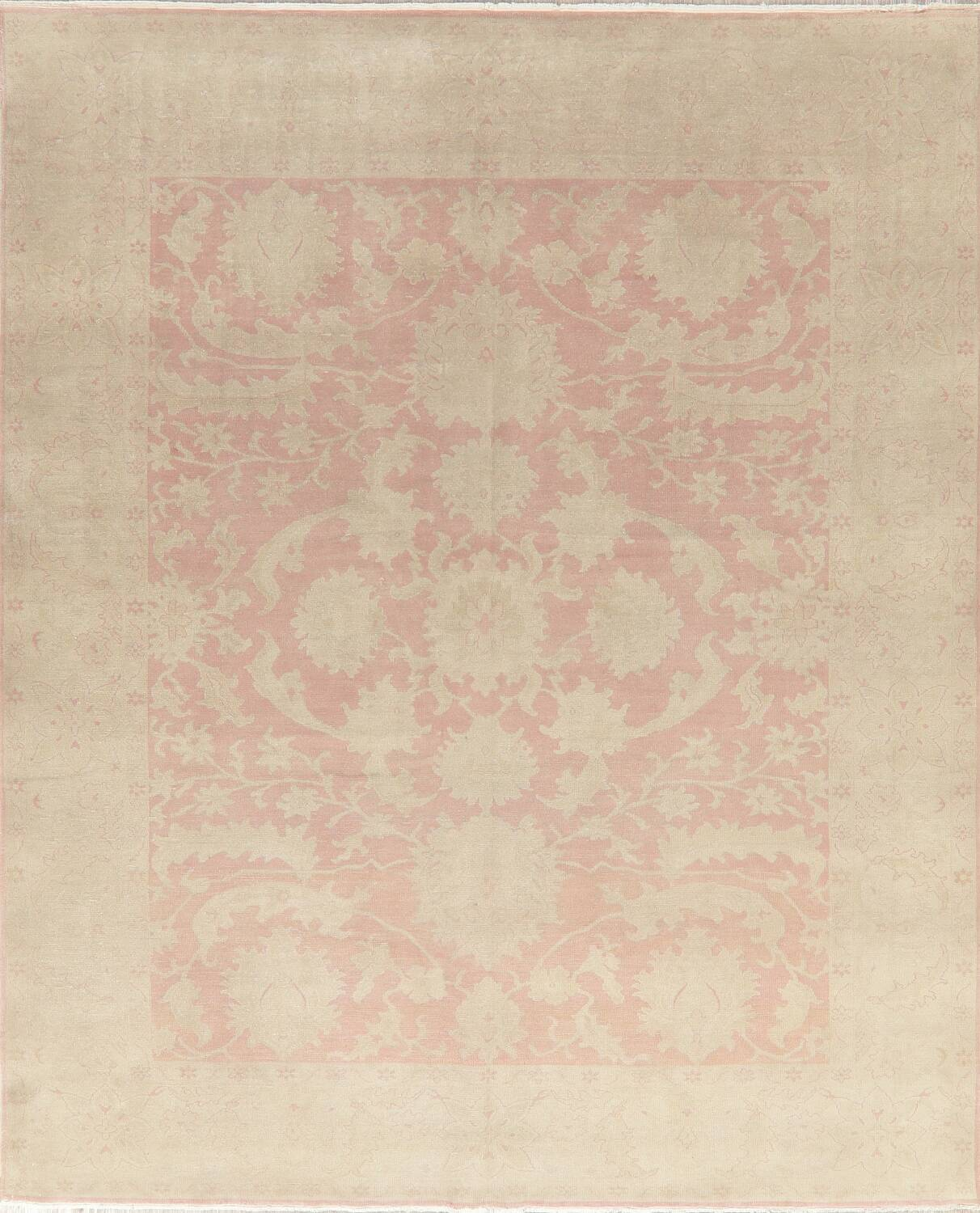 Antique Muted Floral Oushak Turkish Area Rug 8x10 image 1
